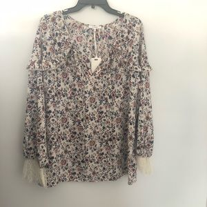 Pleione Floral and Lace Blouse